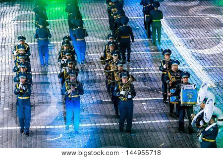 MOSCOW RUSSIA - AUGUST 26 2016: Spasskaya Tower international military music festival. The Honor Guard and the Band of the Presidential Regiment