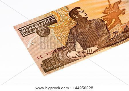 10 North Korea won bank note. North Korea won is the national currency of North Korea