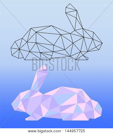 Low poly rabbit vector illustration. Two polygonal rabbit silhouettes - black outlined polygonal rabbit and pink colored polygonal rabbit. Square banner template with domestic animal. Pet artwork