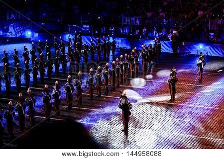 MOSCOW RUSSIA - AUGUST 26 2016: Spasskaya Tower international military music festival. The Carabinieri band of Italy from Rome at the Red Square