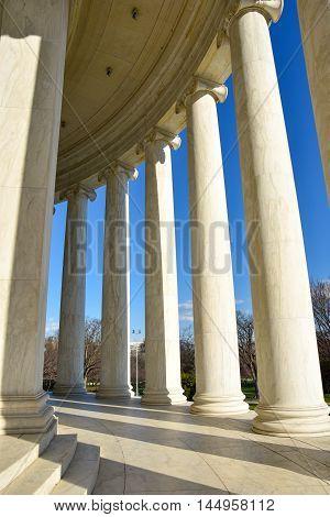 Internal columns at the Thomas Jefferson Memorial. Washington DC, USA.