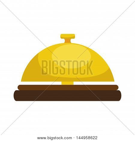hotel yellow bell ring reception lobby service vector illustration