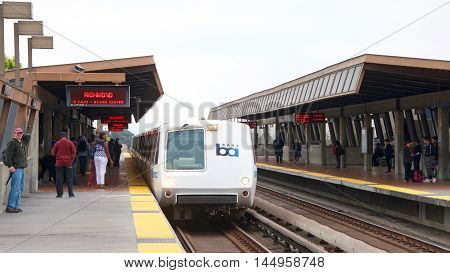 San Francisco CA - August 08 2016: The San Francisco Bay Area Rapid Transit train referred to as BART carries commuters to their destinations in San Francisco the East Bay and San Mateo County.
