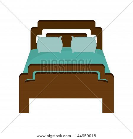 bed bedroom comfortable object home interior furniture vector illustration
