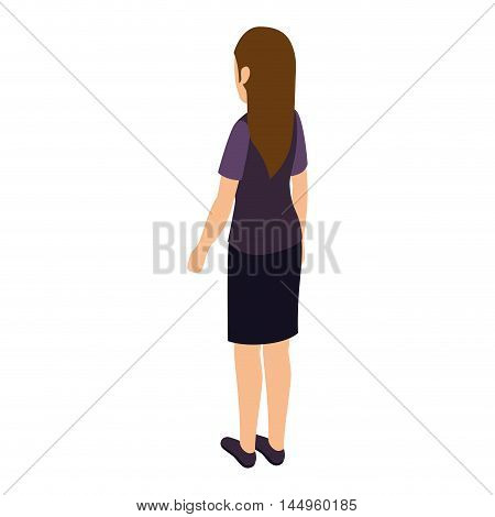 avatar woman back standing female person wearing casual clothes cartoon vector illustration