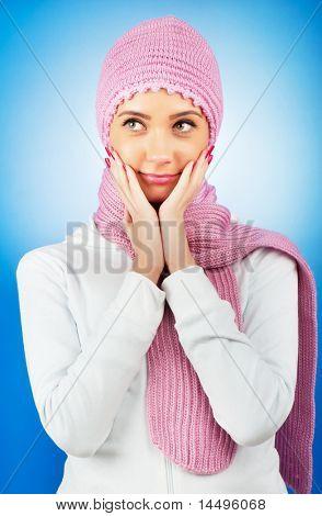 Ницца перспективных женщина в теплую одежду