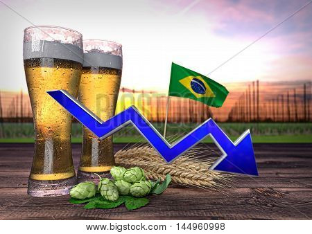 declining beer consumption in Brazil - 3D render