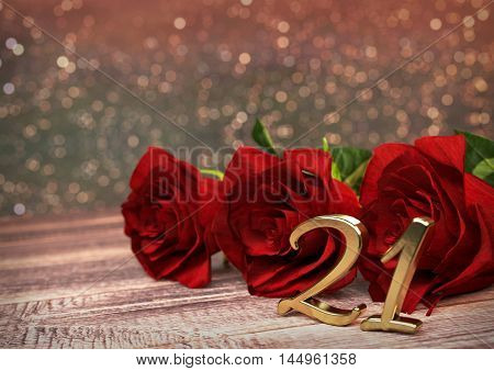 birthday concept with red roses on wooden desk. 3D render - twenty-first birthday. 21st