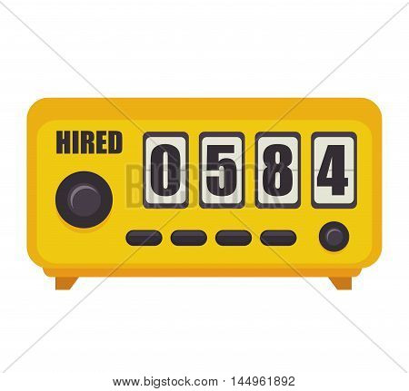 taxi meter counter numbers equipment public service vector illustration