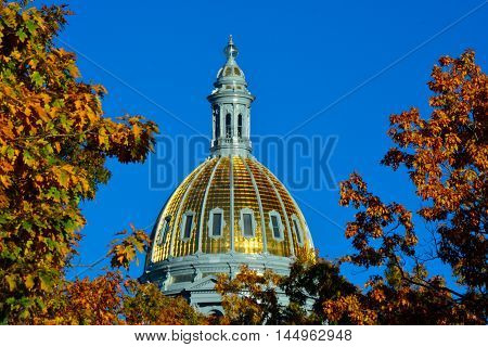 Colorado State Capitol Building Dome with Colorful Fall Leaves