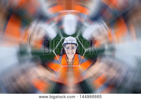 Portait of a beautiful young asian female worker in mirrow reflection