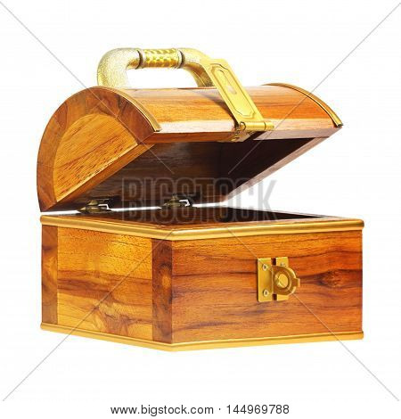 treasure chest money box with a coin slot isolated on white background