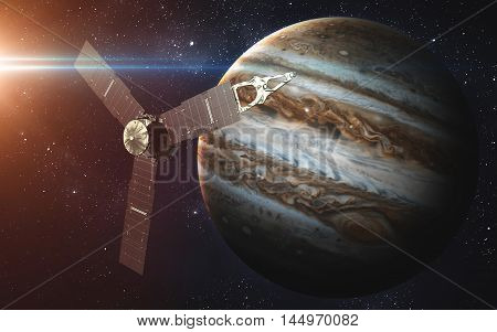 Juno sattelite orbiting Jupiter. Elements of this image furnished by NASA