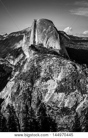 National Park Yosemite Half Dome Lit By Sunset Light Glacier Point Black And White