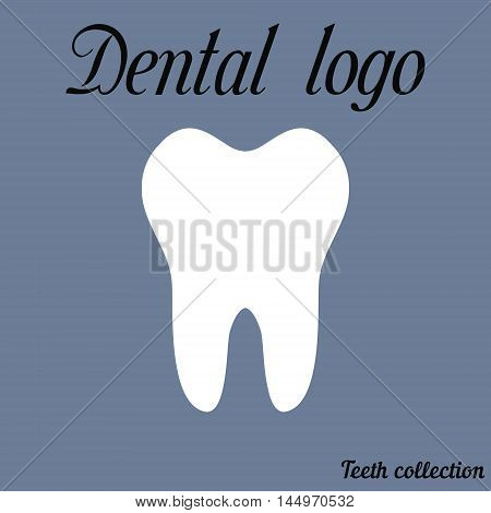 Dental logo simple cartoon white tooth silhouette, teeth, vector illustration icon, logo first tooth. Medical dental office symbols. Care for the oral cavity, dental health care, hospital vector for print or design