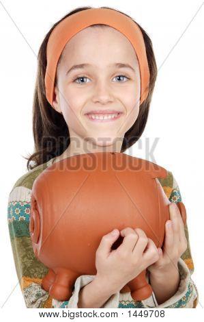 Girl Putting Its Savings