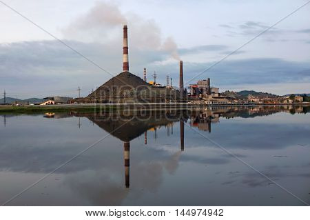 view of the copper plant in the town of Karabash Russia