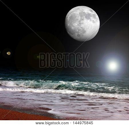 scene full moon and night sea beach