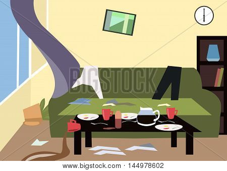 mess in the room - colorful cartoon vector illustration cartoon