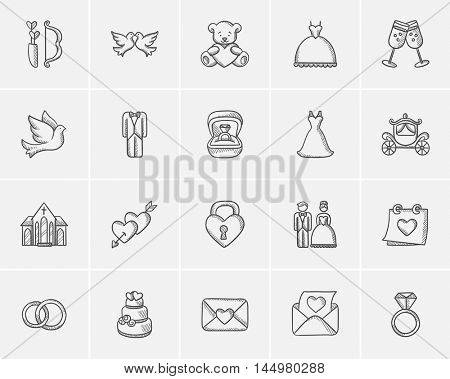 Wedding sketch icon set for web, mobile and infographics. Hand drawn wedding icon set. Wedding vector icon set. Wedding icon set isolated on white background.