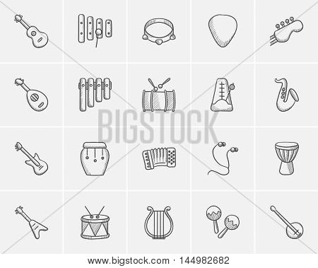 Media sketch icon set for web, mobile and infographics. Hand drawn media icon set. Media vector icon set. Media icon set isolated on white background.