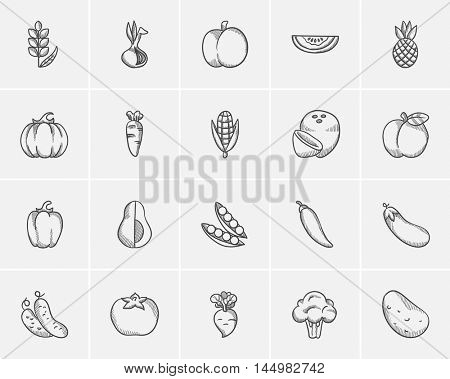 Healthy food sketch icon set for web, mobile and infographics. Hand drawn healthy food icon set. Healthy food vector icon set. Healthy food icon set isolated on white background.