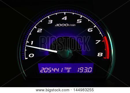 Mileage car ,Car dashboard on the car console