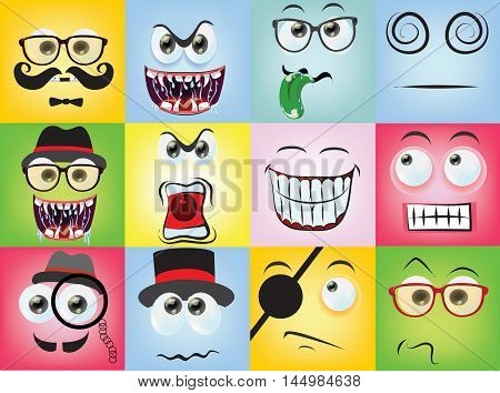 Vector illustration of cartoon faces with different emotions