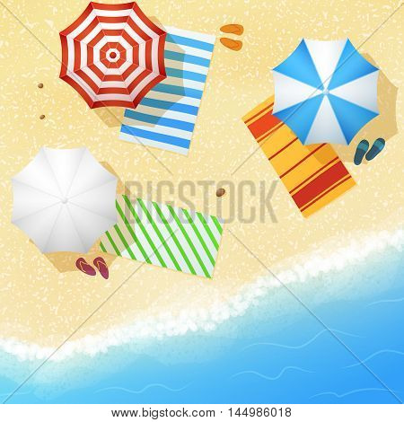 Aerial view of sea sand beach with towels and umbrellas. Concept summertime leisure in resort, vector illustration