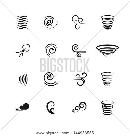 Wind, motion vector icons. Set of swirl and wave, vortex and tornado illustration