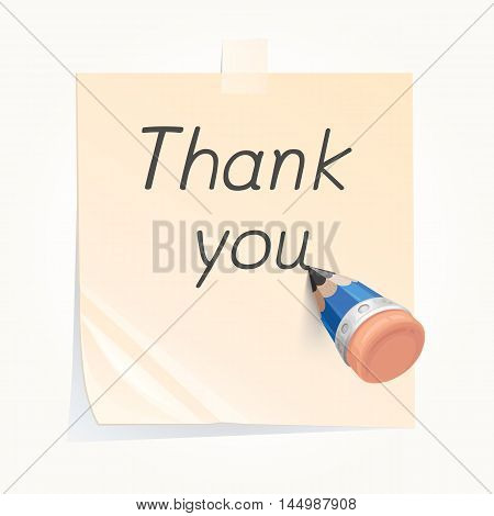 Pencil writing thank you on paper note