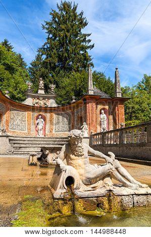 Famous Trick Fountain Hellbrunn Salzburg, upper Austria