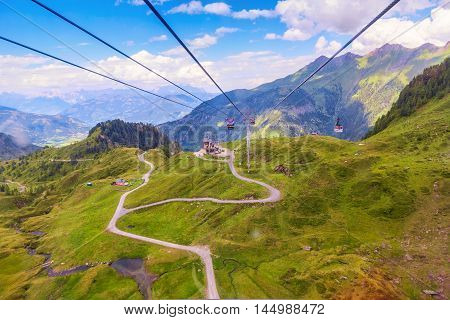 Cable car on the way to glacier at Pick Kaprun Kitzsteinhorn upper Austria