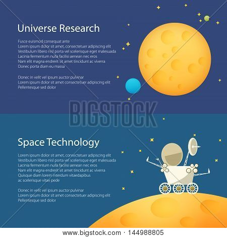 Moon in Space Among the Stars and Planets, Planet Rover on the Moon among the Stars in Space , Horizontal Banners, Flat Design, Vector Illustration