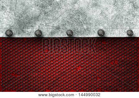 grunge metal background. metal plate on black grille and red plate with rivet. material design 3d illustration.
