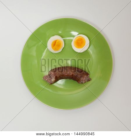 Sad face on the plate made out of eggs and sausage