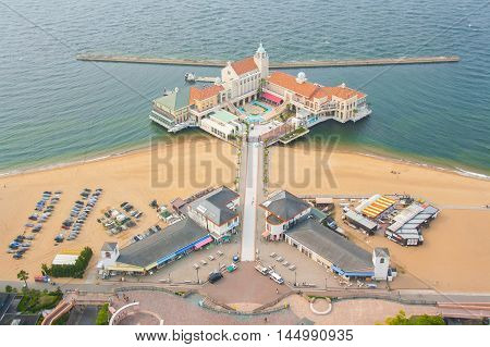 FUKUOKA, JAPAN - MAY 30, 2012 : Marizon is a wharf complex, including restaurants and souvenir shops, which extends into the waters of Momochi Beach in the shadow of the Fukuoka Tower.