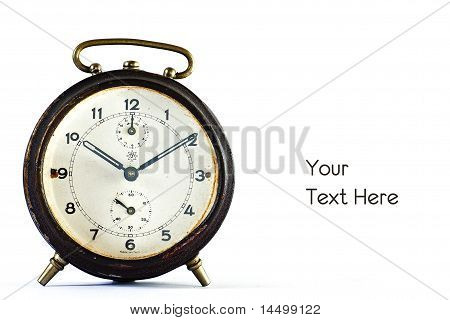 Old Vintage Brown Alarm Clock Isolated On White With Left White Space For Text