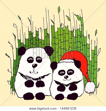 Vector hand drawn panda couple sitting in bamboo thickets. Design element illustration for children production wallpaper poster postcard. Special for New Year.