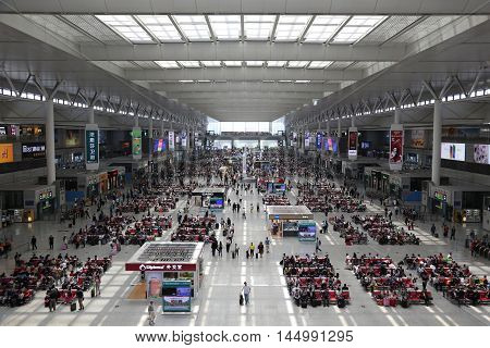 SHANGHAI CHINA - MAY 17: Shanghai Hongqiao Railway Station on May 17 2016 in Shanghai. The Shanghai Hongqiao railway station is the largest railway station in Asia.