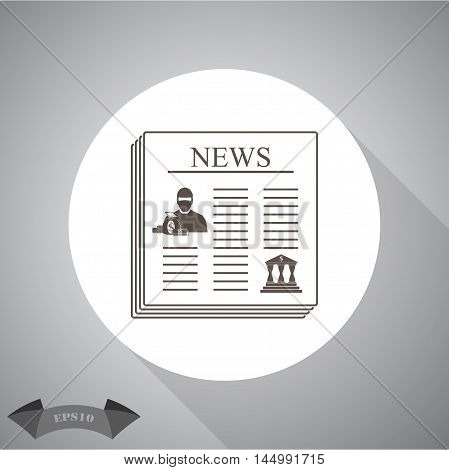 Robbery newspaper  Vector icon for web and mobile.