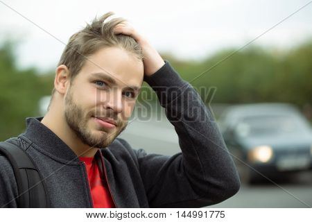 Young Bearded Thoughtful Man