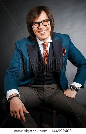 Handsome Man With Long Hair Brunette And Brown Eyes In Black Rim