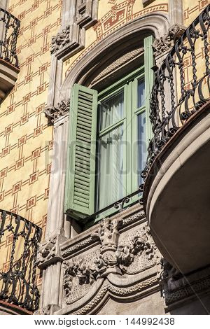 Modernism Building In Eixample District In Barcelona