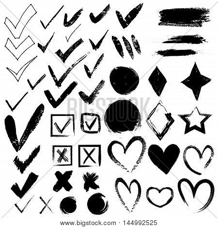 Vector tick and cross set with hearts to vote illustration. EPS 10