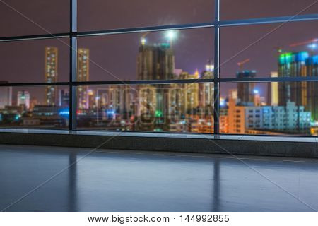 shanghai cityscape seen through window,digitally generated image.