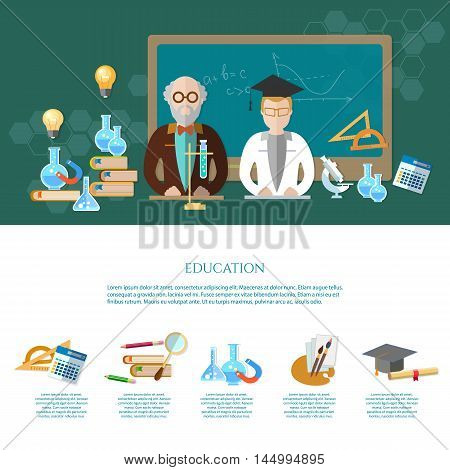 Education infographic learning professor and student open book of knowledge vector illustration
