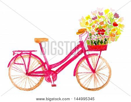 watercolor hand painted bicycle with flowers on white