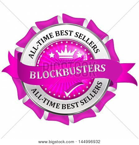 Blockbusters - metallic pink business glossy icon / label.
