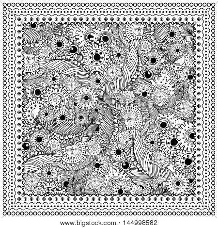 Black vector mono color illustration. Adult Coloring book page design, for adults or kids. Vector template. Ornamental border and frame. Steampunk style, feathers and gear-wheels